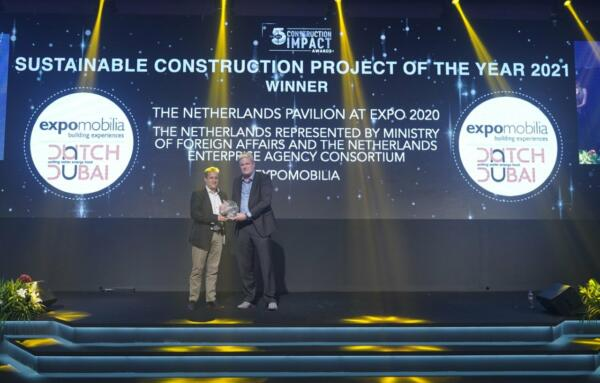 The Netherlands pavilion at World Expo 2020 wins Sustainable Construction Project of the Year 2021!